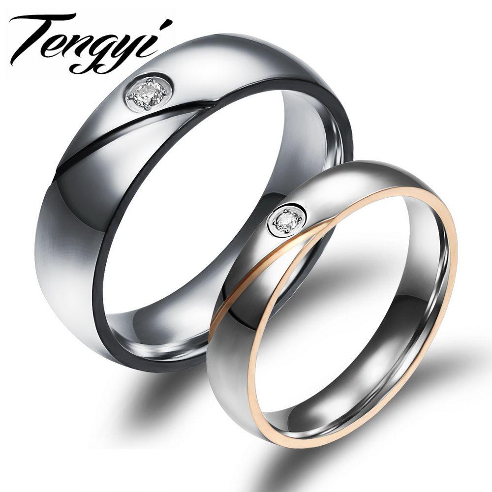 Classic Stainless Steel Korean Couples Rings Set For Men Women