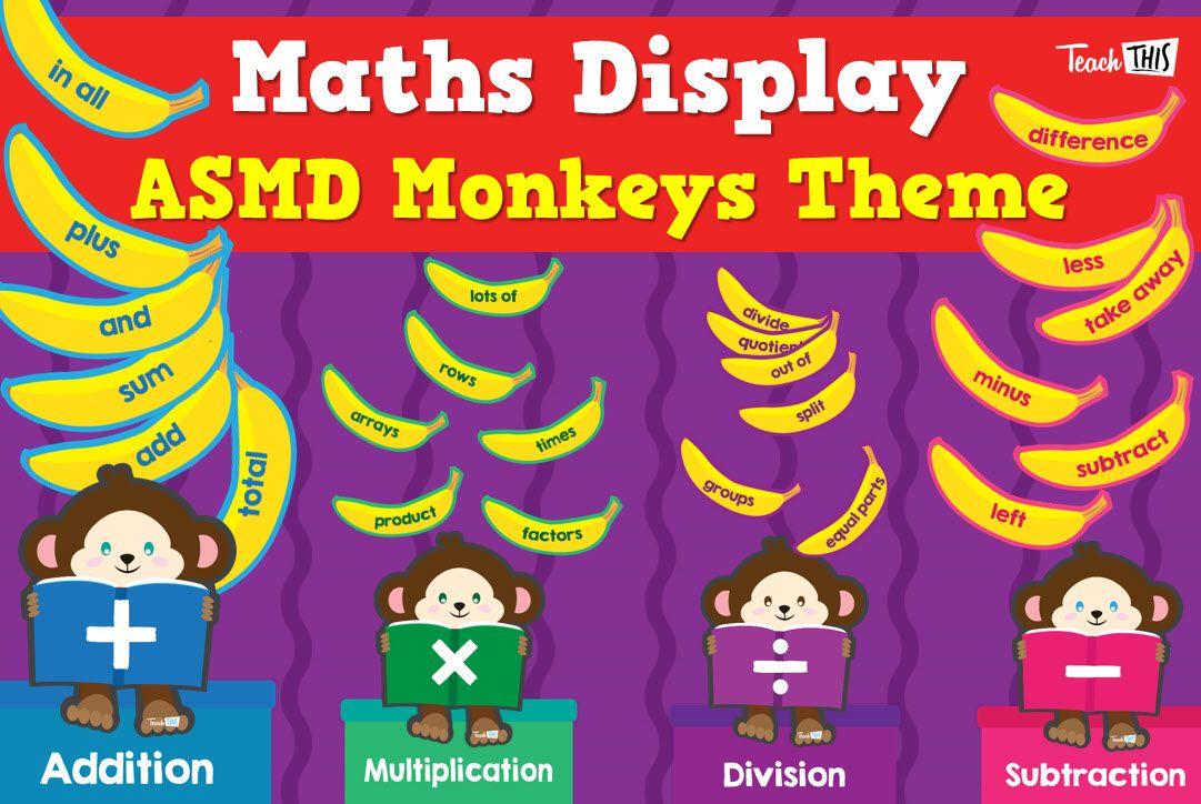Maths Display ASMD Monkeys Maths display, Classroom