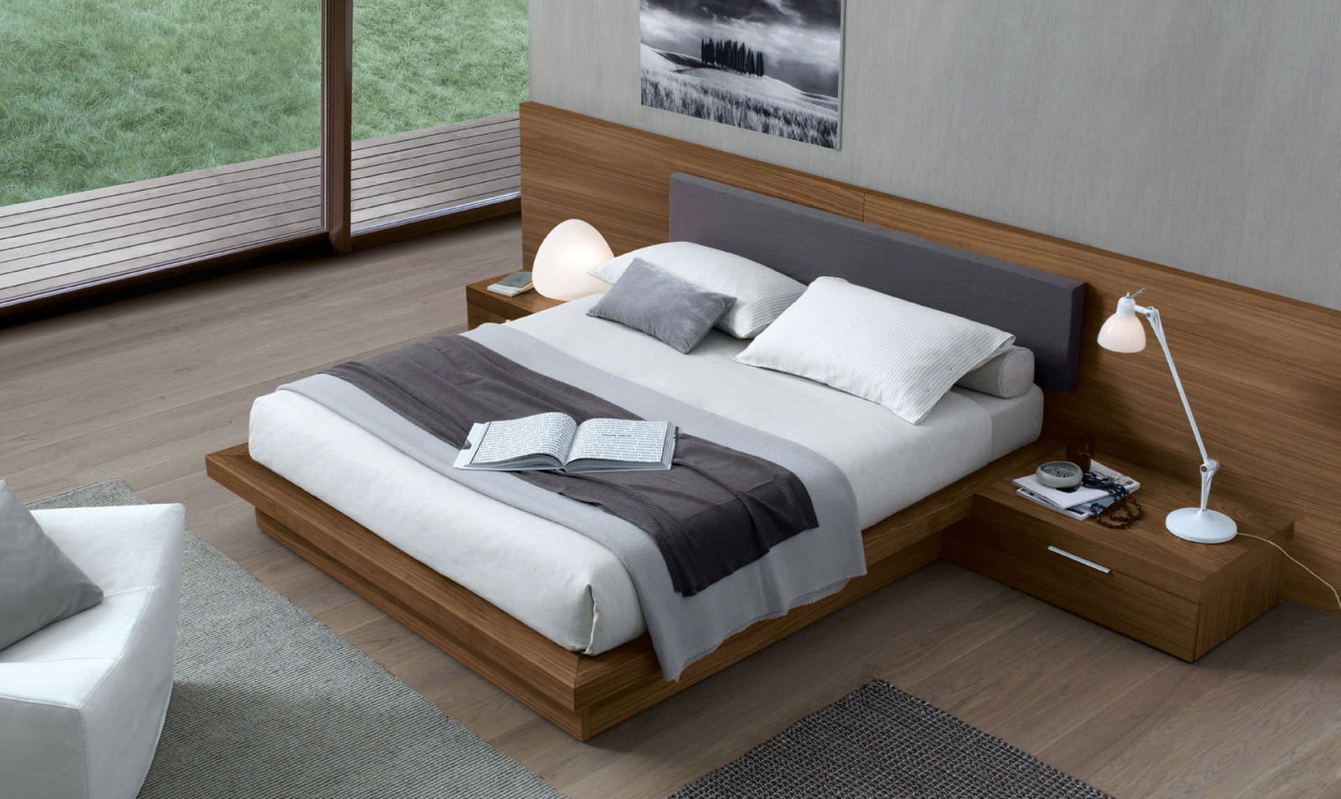 Double Bed Contemporary Bed Side Table Oak Ala Jesse