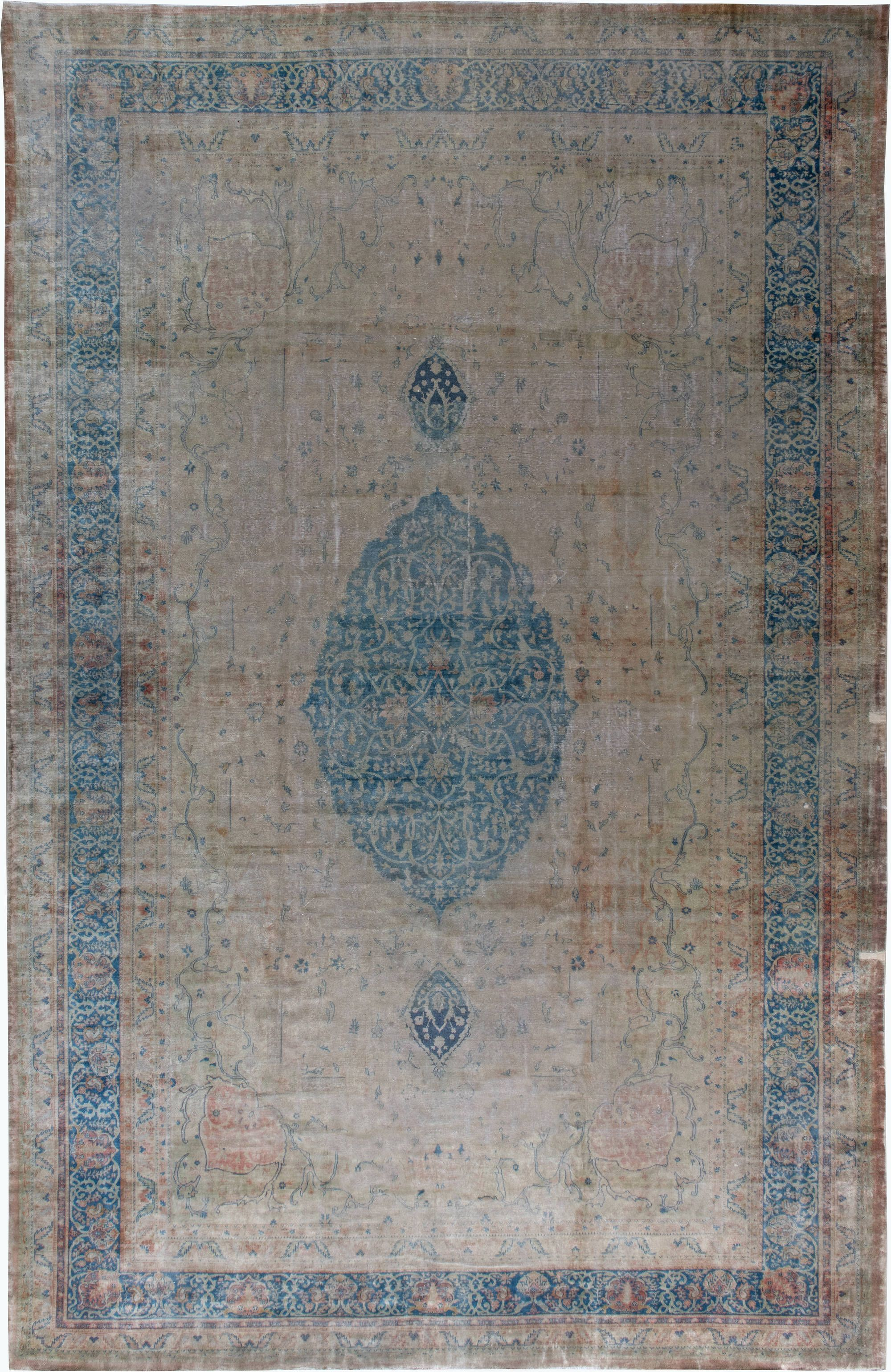 Vintage Turkish Borlou Blue And Beige Hand Knotted Wool Rug Bb6186 By Dlb Rugs Antique Persian Rug Antiques