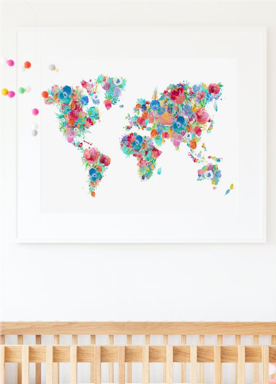 Floral world map print nursery world map baby room map large world floral world map print nursery world map baby room map large world map poster gumiabroncs Image collections