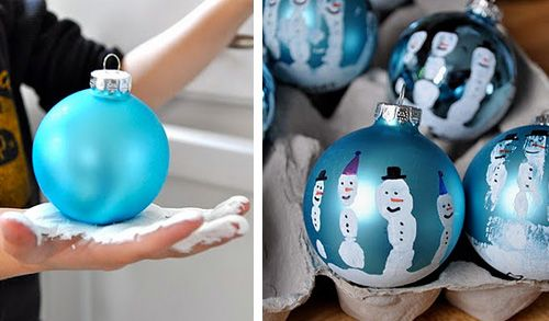 handprint snowmen ornaments. Make sure you write their names and the year on the bottom. What a cute idea!