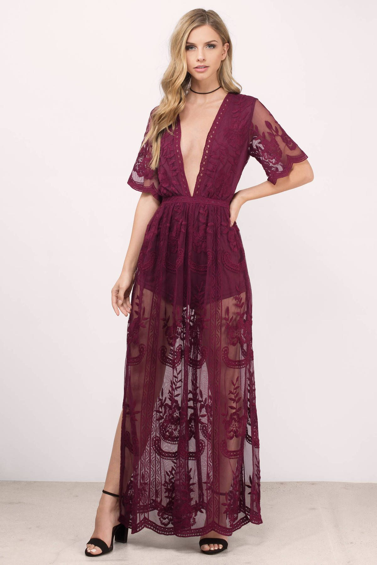 Madonna Lace Overlay Romper In Wine Lace Maxi Dress Maxi Dress Lace Maxi Romper [ 1800 x 1200 Pixel ]