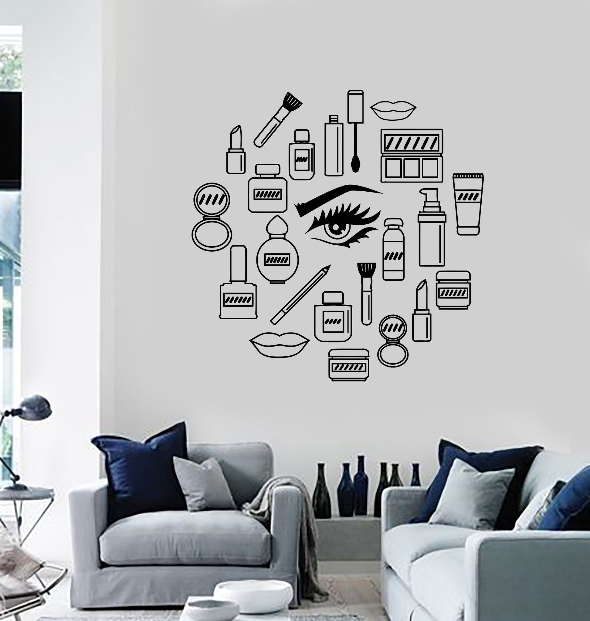 Vinyl Wall Decal Makeup Cosmetics Woman Girl Beauty Shop Stickers Unique Gift Ig3538 Wall Decor Decals Decal Wall Art Vinyl Wall Decals