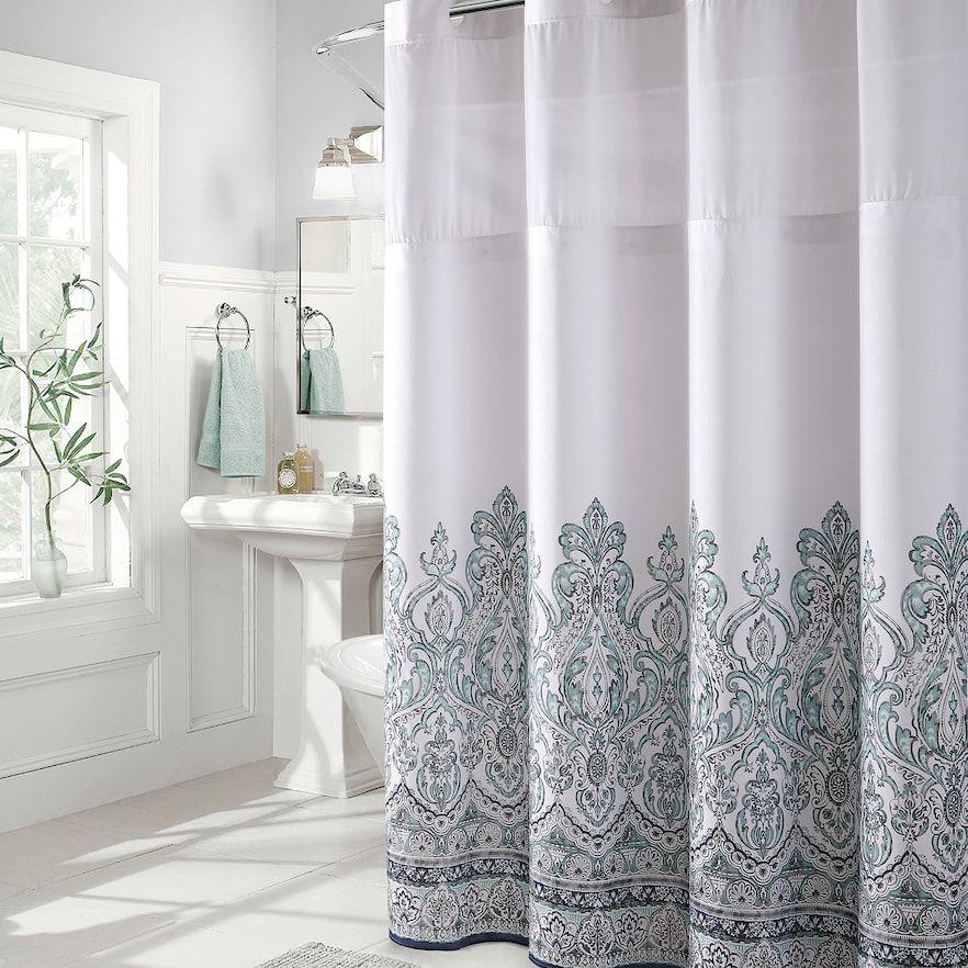 Hookless Damask Border Shower Curtain Peva Liner Blue