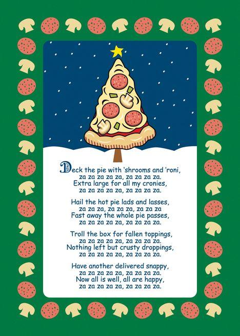 Christmas Parody.Funny Pizza Tree Christmas Parody Song Card Invitations