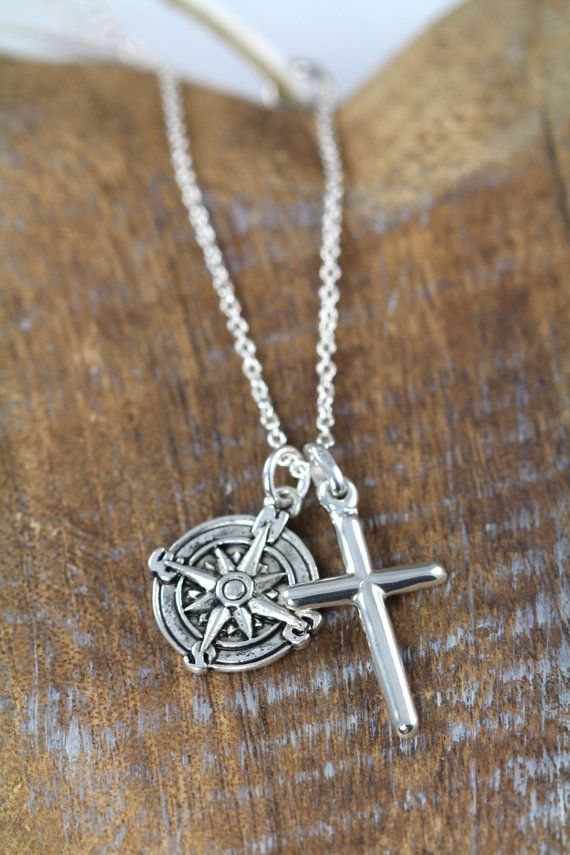76ce822efbf8 Compass Cross Necklace For Him Personalized Custom Engraved
