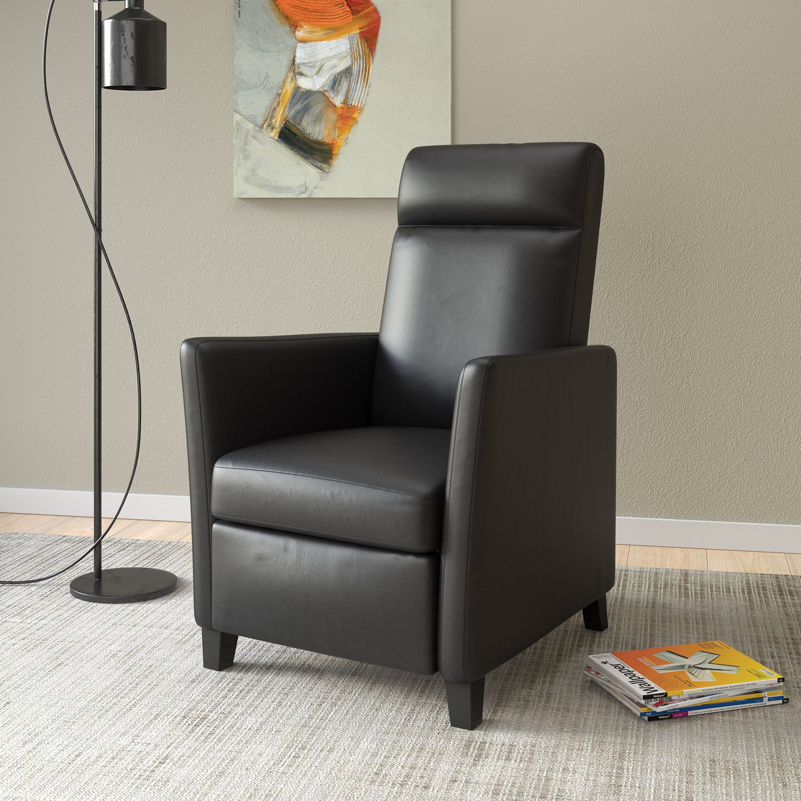 Incredible Corliving Elise Contemporary Bonded Leather Recliner Chair Bralicious Painted Fabric Chair Ideas Braliciousco