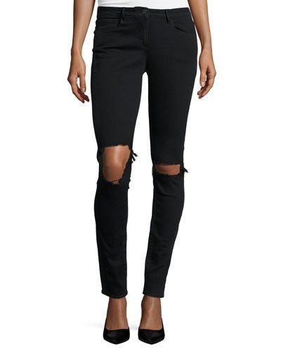 W2 Mid-Rise Distressed Skinny Jeans, Black Fade