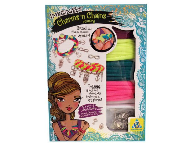 Add tiny treasures to stretchy fabric strings to create colourful charm bracelets.