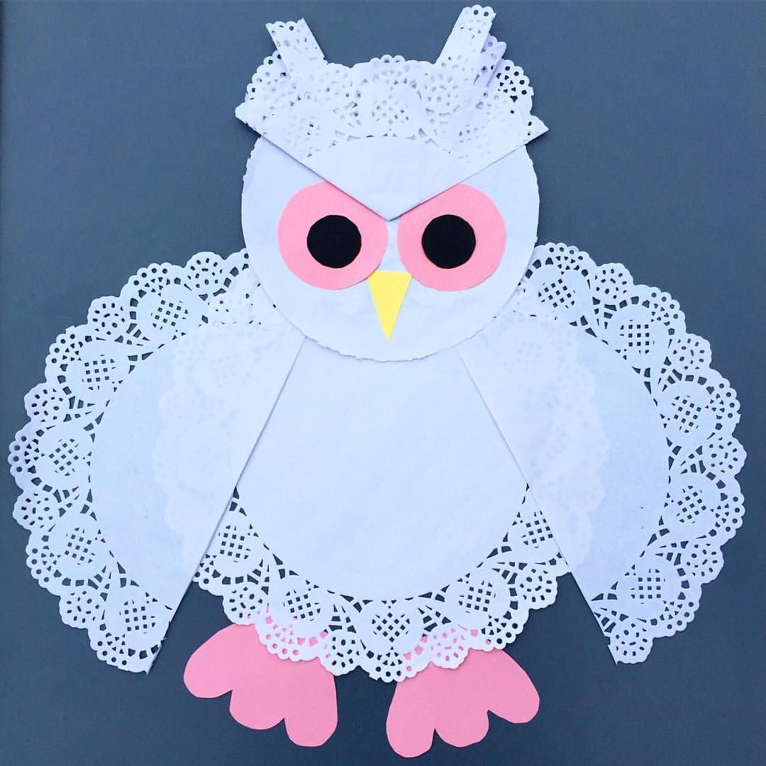 Heres our sweet owl made out of paper doilies kids crafts heres our sweet owl made out of paper doilies paper doily craftspaper jeuxipadfo Images
