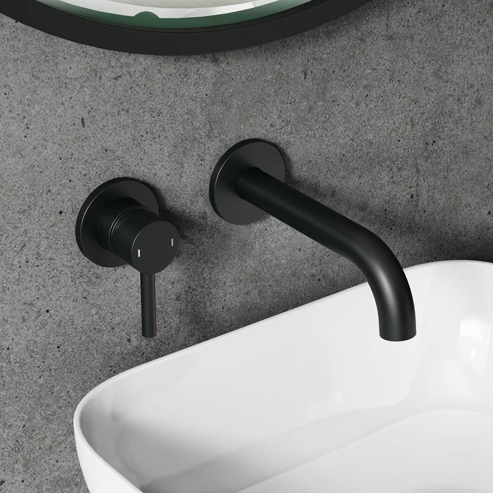Vellamo Twist Matt Black Wall Mounted Basin Tap With Easy Plumb Installation Kit Wall Mounted Basins Black Bathroom Taps Wall Mounted Bath Taps