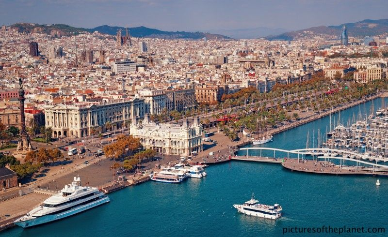 The Catalonian capital, Barcelona city and the Port Vell waterfront harbour, SPAIN