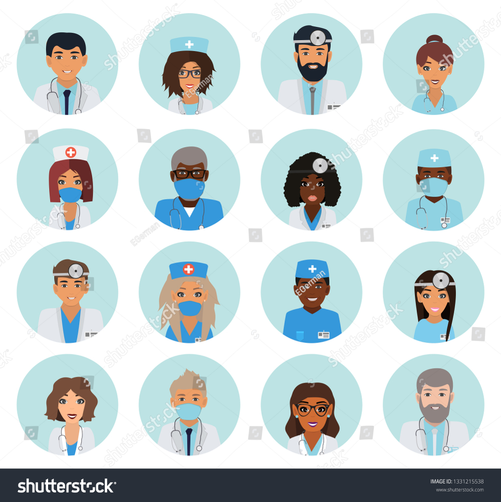 Male And Female Faces Doctors Team Doctors And Nurse Team Hospital Staff User Icons Flat Vector Avatar Set V Vector Illustration Nurse Team Doctor Picture