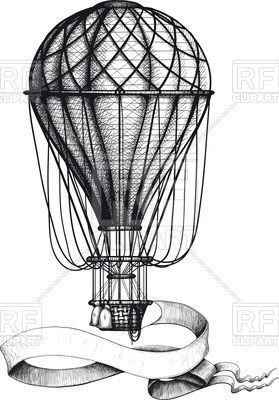 Vintage Hot Air Balloon With Waving Banner Hanging To The Basket