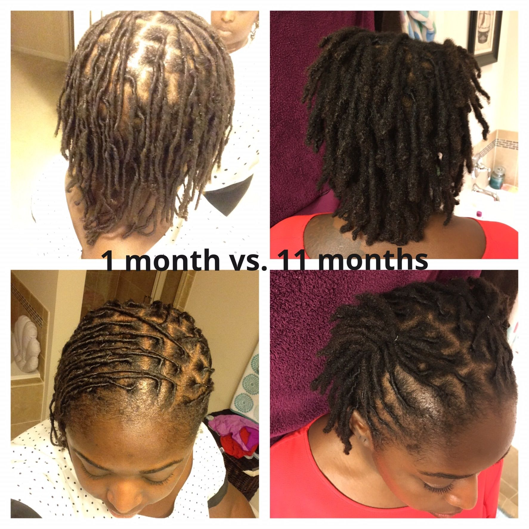 1 Month Vs 11 Months I Started With Very Fine Hair And My Tresses Have Thickened Up Thanks To The Loc Proces Hair Styles Short Locs Hairstyles Locs Hairstyles