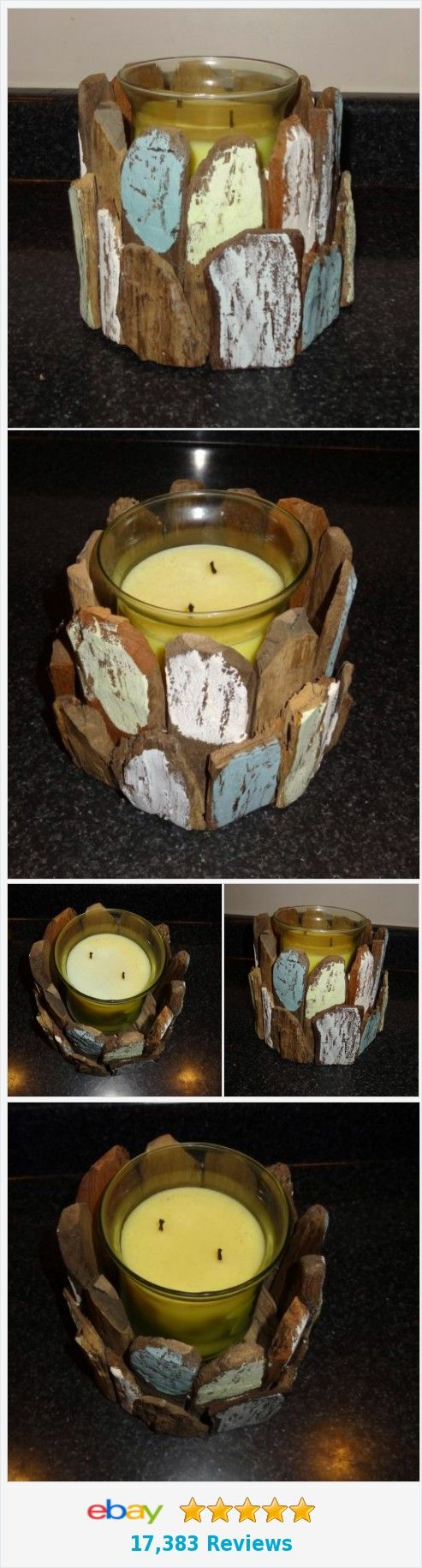 Wooden bark candle holder rustic vintage look blues white