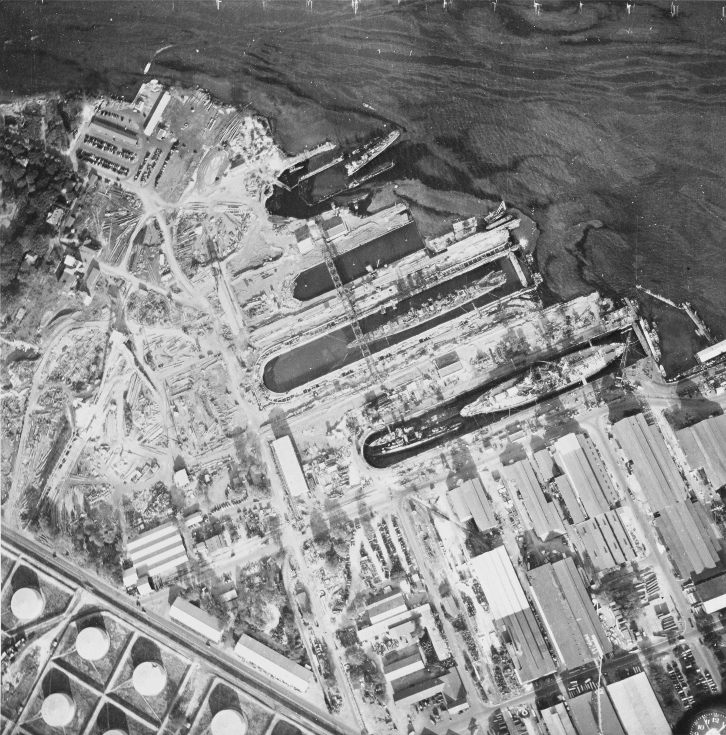 Aerial View Of The Dry Docks At Pearl Harbor On 10 December 1941