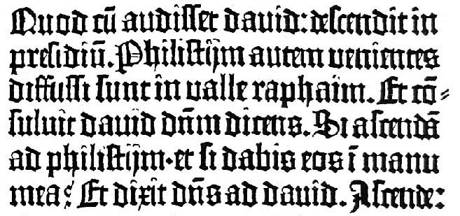 Blackletter Type Sample From Gutenberg Bible 1454 First Western Book Printed Movable