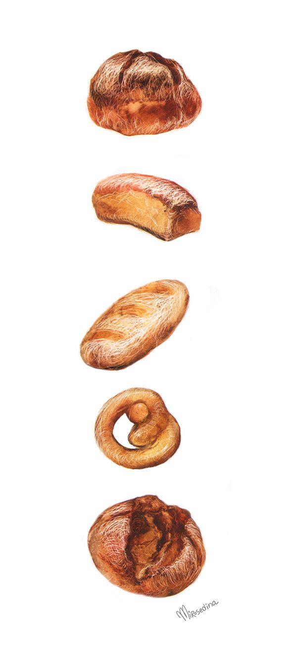 still life with bread autors technic | シール | pinterest