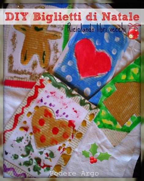 #DIY Biglietti di #Natale fai da te riciclando libri vecchi #riciclo
