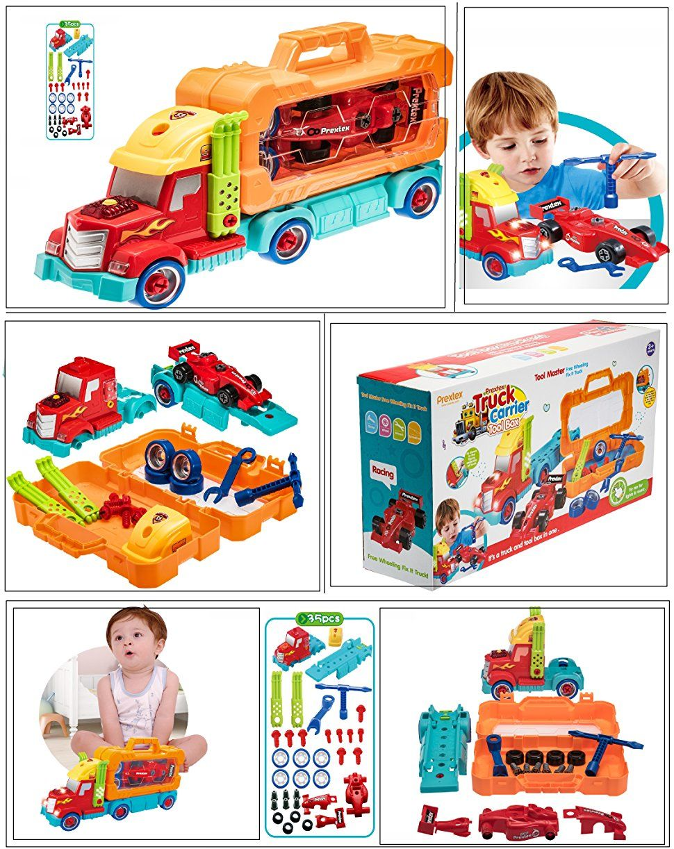 Car toys for girls  Prextex  Piece TakeAPart Do It Yourself Truck Carrier Tool Box