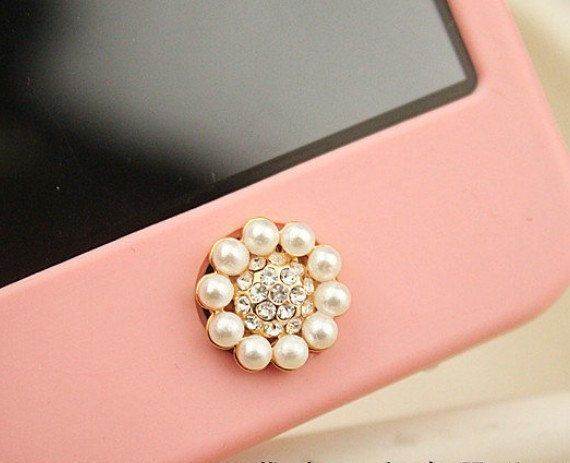 $4.98 1 pcs Bling Crystal Circle Pearl iPhone Home Button Sticker for iPhone 4,4s,4g, iPhone 5, iPad, Cell Phone Charm