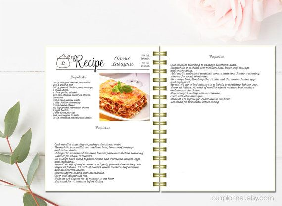 editable recipe pages cook book binder template recipe