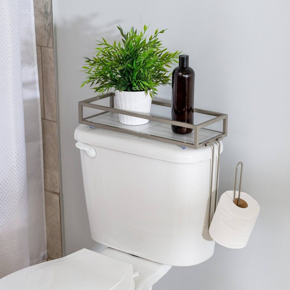 Toilet Storage Tray Brushed Nickel Honey Can Do In 2020 Toilet Storage Toilet Tank Wall Mounted Toilet