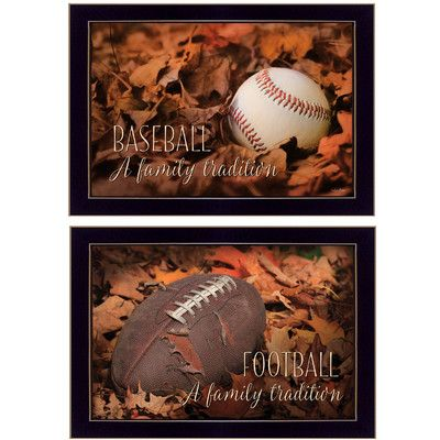 Trendy Decor 4U 'Baseball and Football a Family Tradition' by Lori Deiter 2 Piece Framed Graphic Art Set