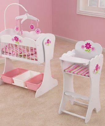Kidkraft Wooden Floral Fantasy Doll Furniture Set Cradle High