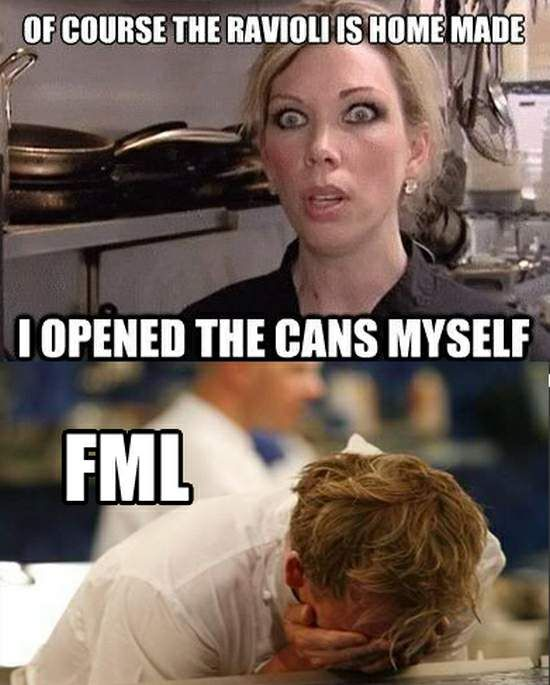 Kitchen Nightmares Food: Of Course The Ravioli Is Homemade, I Opened The Cans
