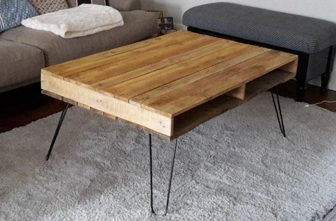 table basse palette pieds epingle