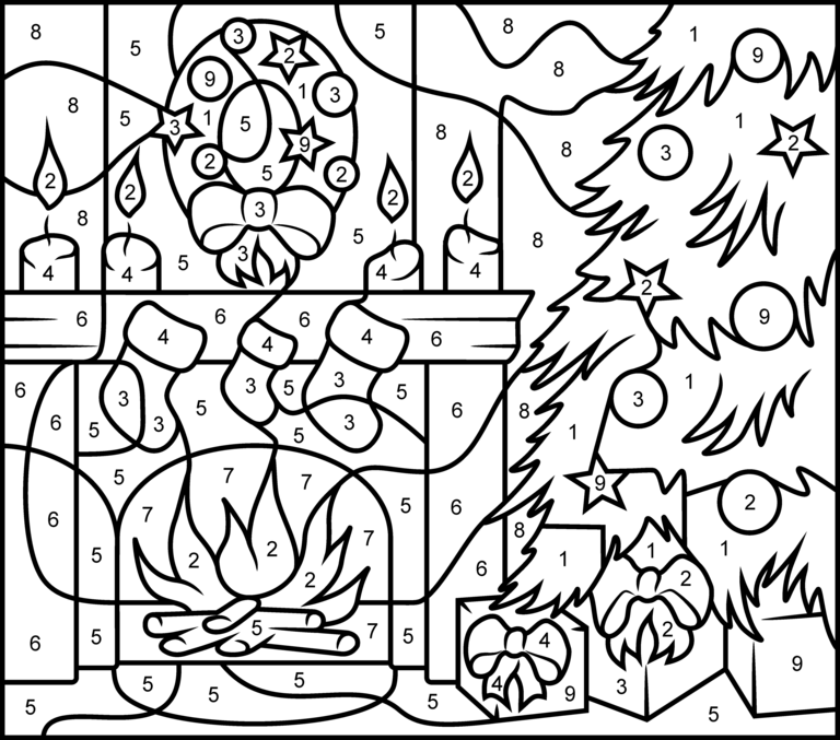 Christmas Fireplace Printable Color By Number Page Hard Christmas Coloring Sheets Christmas Color By Number Free Christmas Coloring Pages