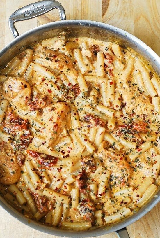 Photo of Creamy Chicken Mozzarella Pasta with Basil and Sun-Dried Tomatoes