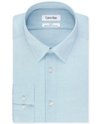 de268c224736 Calvin Klein Steel Non-Iron Slim-Fit Blue Multi Check Performance Dress  Shirt