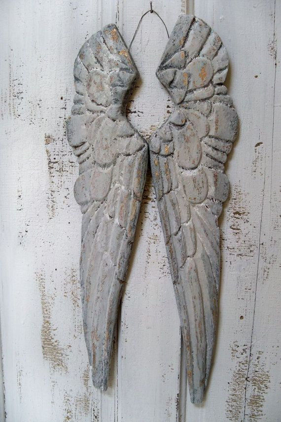 680af7c0f81 Wooden angel wings wall sculpture white gray distressed carved wood ...