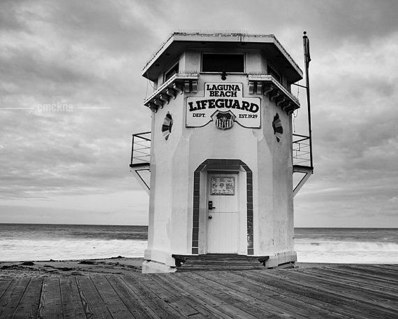 Black and white laguna beach lifeguard tower