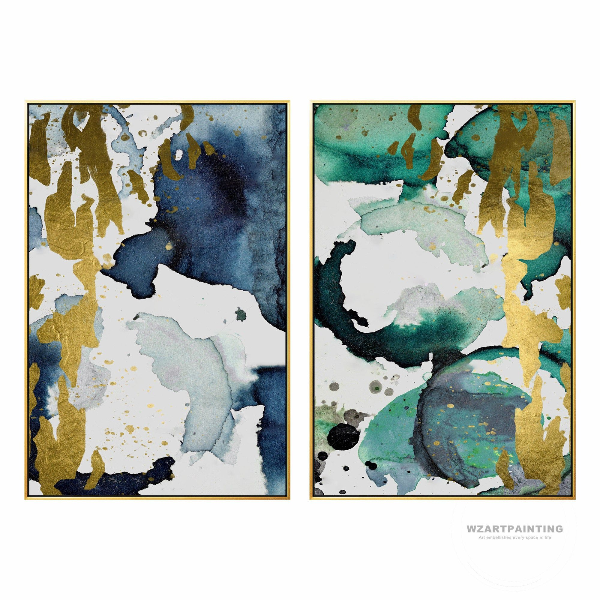 Framed Wall Art Set Of 2 Prints Abstract Gold Green Navy Blue Print Painting Gold Art Pictures On Canvas Wall Art Painting Decor Quadros Canvaswalla Arredamento