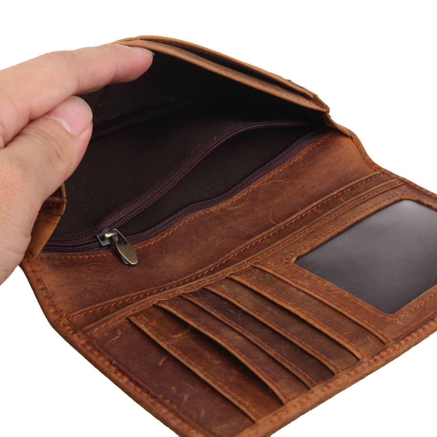 ca1f0c4e243f Texbo Men's Genuine Cow Leather Bifold Long Wallet Brown at Amazon ...