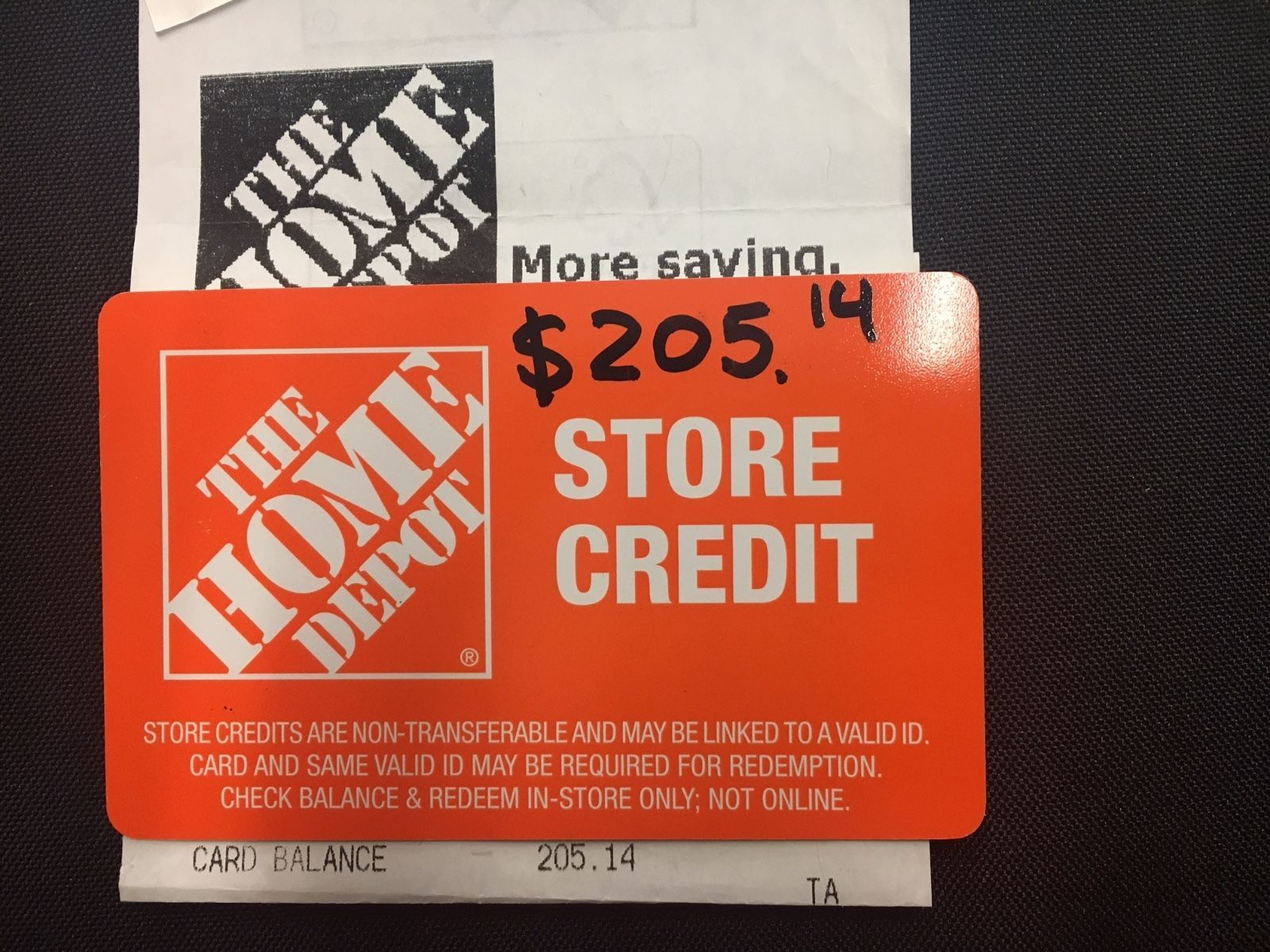 Coupons GiftCards 205.14 Home Depot Store Credit Gift