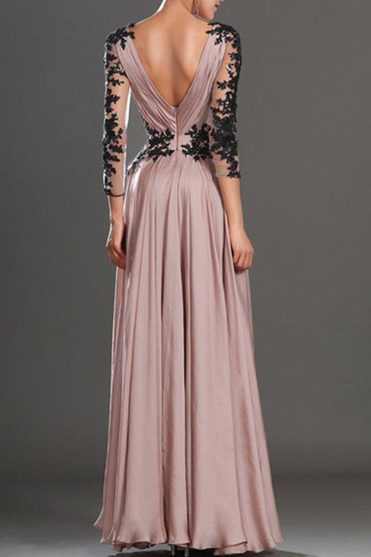 v-neck long sleeve lace prom dress/evening dress ed8