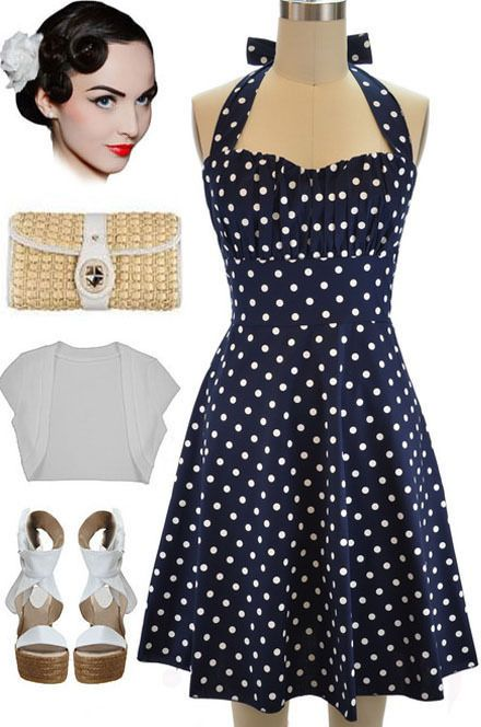 8b83318e5702 50s Inspired NAVY BLUE with White POLKA DOTS Pinup Betty HALTER TOP Sun  Dress