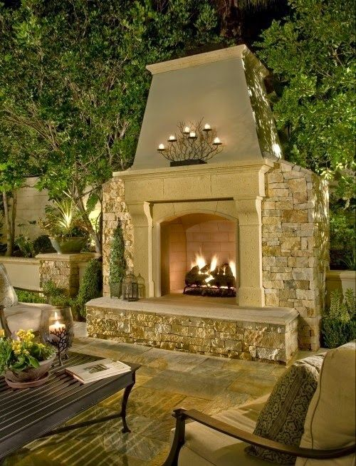 Pin By Home Channel Tv On Outdoor Living Spaces Outside Fireplace