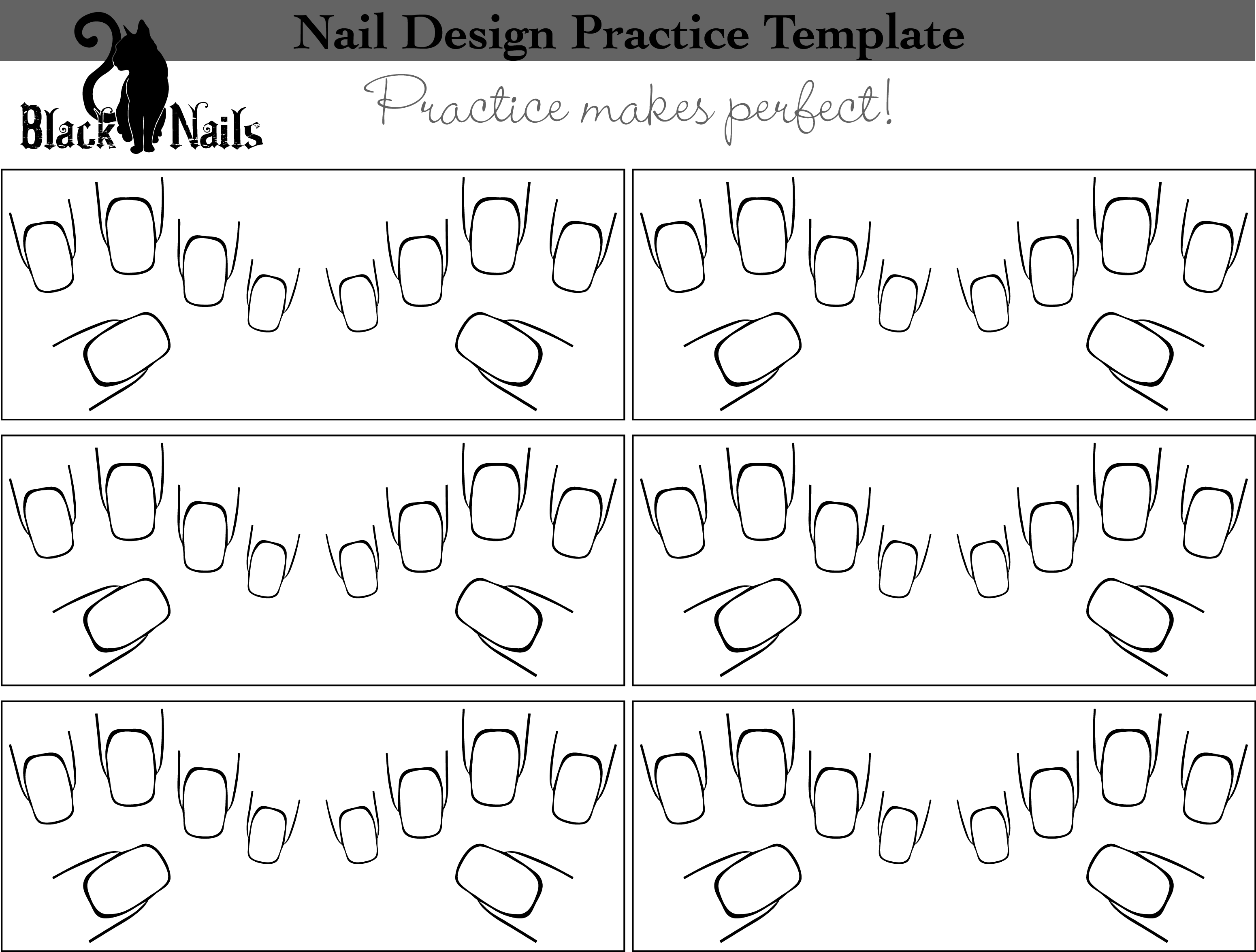 Nail Art Design Practice Sheet Full Hand Versions Black Cat Nails Coloring Pages