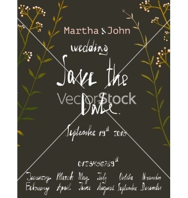 Rustic Save The Date Invitation Card Template With Vector - Rustic save the date templates