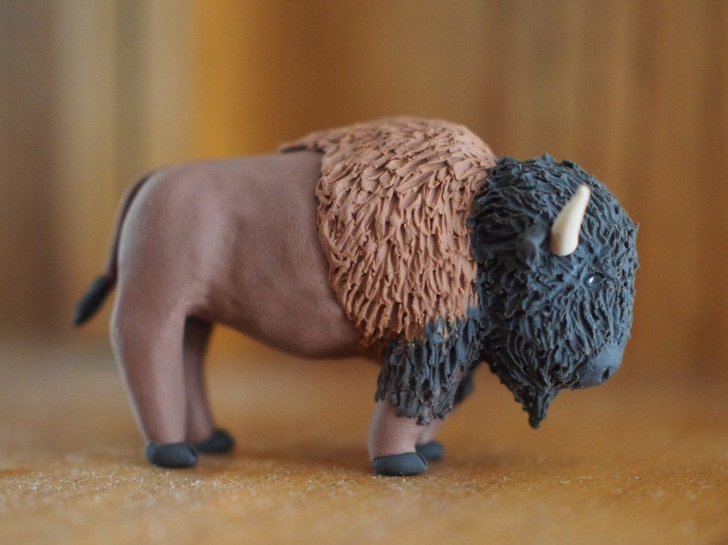Polymer Clay Buffalo, Realistic Bison Sculpture, Animal Figurine, Western Decor, Gift for Him, Buffalo Art, Collectible Miniature Figurine