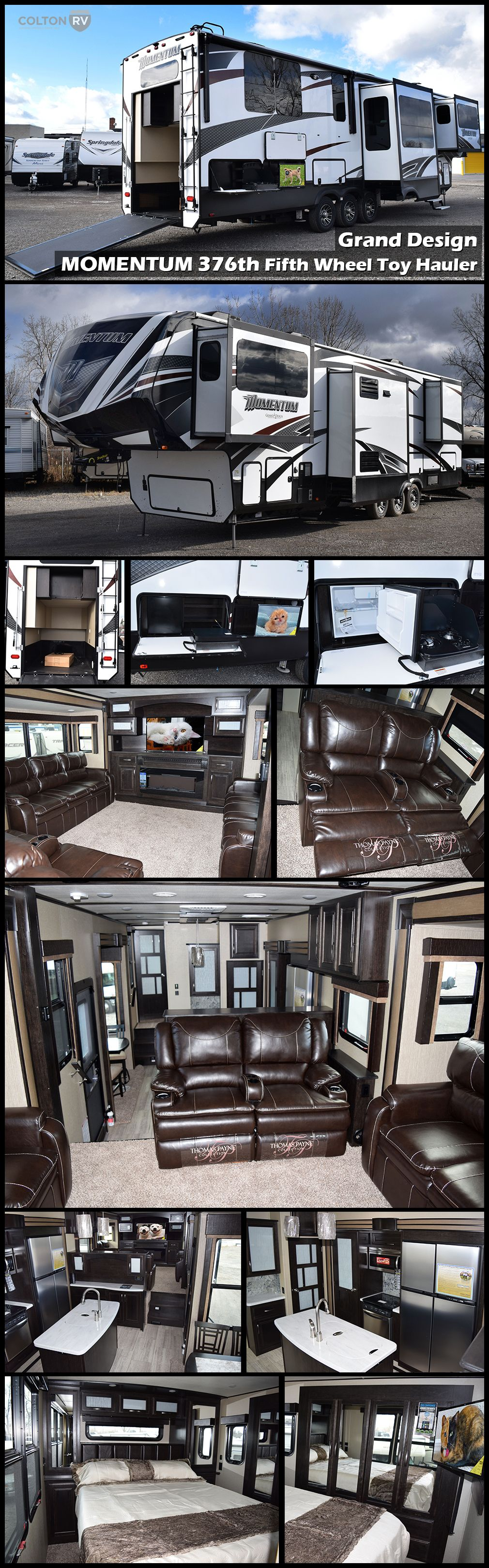 This Unique 2017 Grand Design Momentum 376th Fifth Wheel Toy Hauler Features A Rear Master Bedroom Above Fifth Wheel Toy Haulers Toy Hauler Fifth Wheel Campers