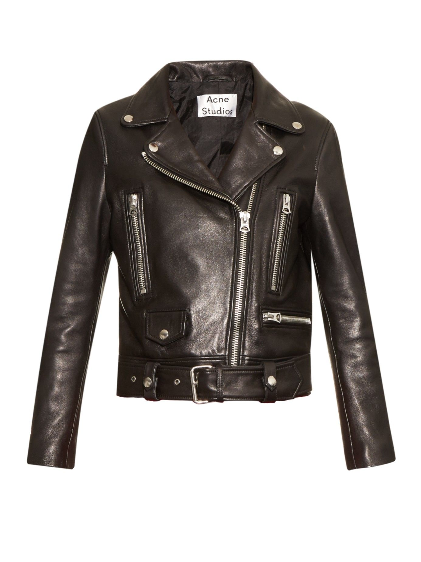 Acne | Black Mock Leather Biker Jacket | Lyst