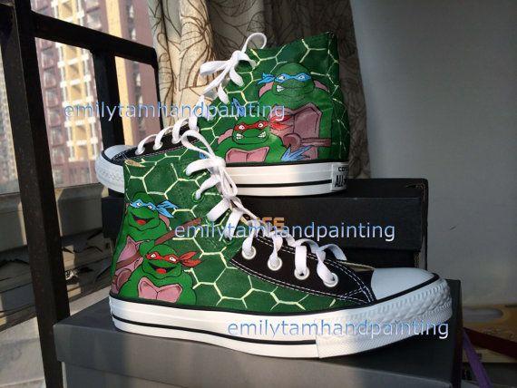 d461d771e0e3 Teenage Mutant Ninja Turtles Converse Sneakers High Top Sneaker- Hand Paint  Ninja Turtles Shoes